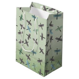 Libellules d'aquarelle sac cadeau moyen