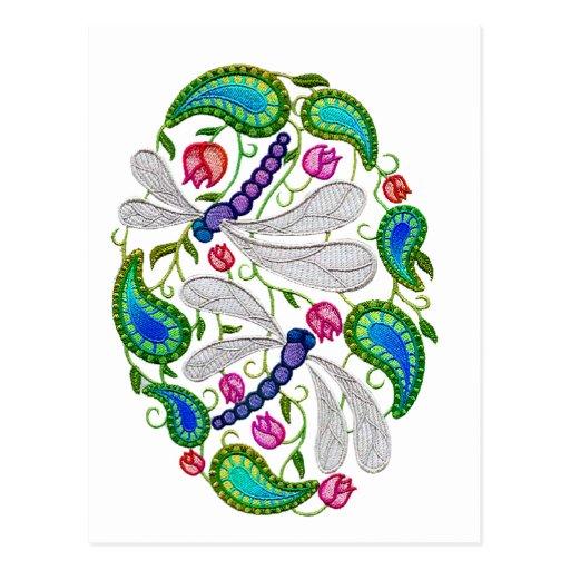 libellules ebroidered carte postale
