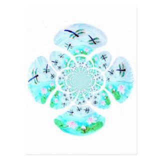 Libellules, motif de fleurs de lis cartes postales