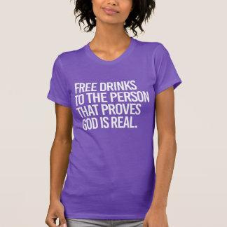 Libérez les boissons à la personne qui s'avère t-shirt