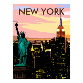 Liberté de New York City de carte postale de cru