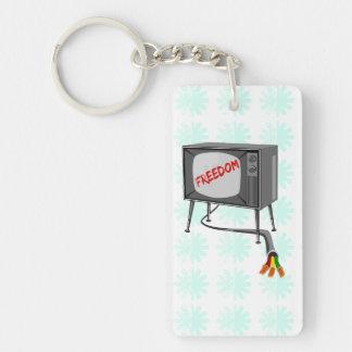 Liberté de télévision porte-clé rectangulaire en acrylique double face