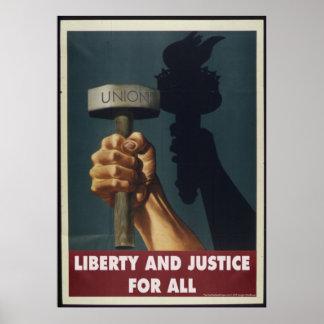 Liberté et justice pour entièrement l'affiche de poster