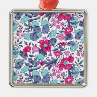 Liberty fleur personnalisable prénom ornement carré argenté