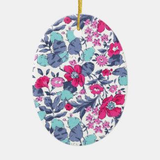 Liberty fleur personnalisable prénom ornement ovale en céramique