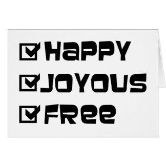 Libre joyeux heureux cartes