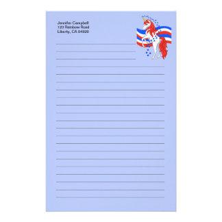 Licorne américaine patriotique bleue blanche rouge papeterie