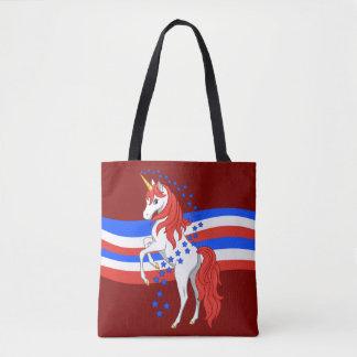 Licorne américaine patriotique bleue blanche rouge sac