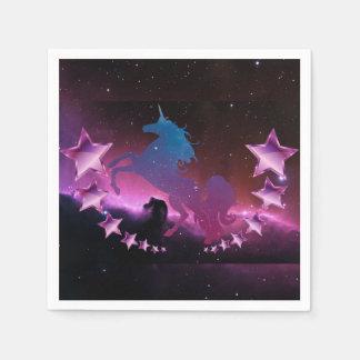 Licorne avec des étoiles serviette en papier