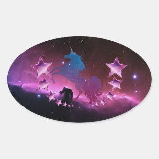 Licorne avec des étoiles sticker ovale