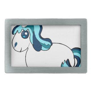Licorne blanche et bleue, créature mignonne boucles de ceinture rectangulaires