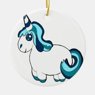Licorne blanche et bleue, créature mignonne ornement rond en céramique