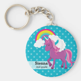 Licorne * choisissez votre couleur d'arrière - porte-clé rond