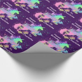 Licorne d'arc-en-ciel d'imaginaire personnalisée papier cadeau noël