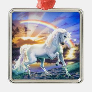 Licorne d'arc-en-ciel ornement carré argenté