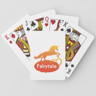 Licorne de conte de fées avec amour cartes à jouer