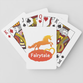 Licorne de conte de fées avec amour jeux de cartes