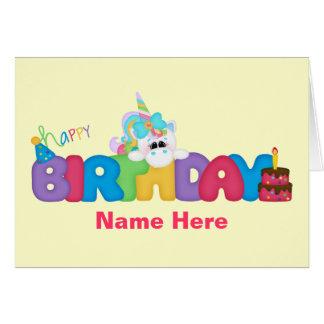 Licorne de joyeux anniversaire (personnalisée) carte de vœux