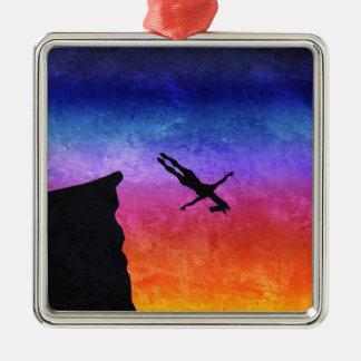 Licorne de piqué de falaise ornement carré argenté