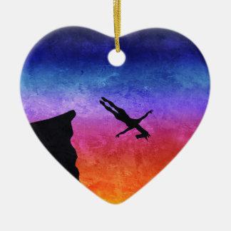 Licorne de piqué de falaise ornement cœur en céramique