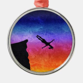 Licorne de piqué de falaise ornement rond argenté