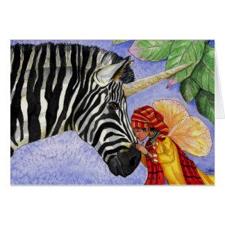 Licorne de zèbre et carte de fée de ZiZi