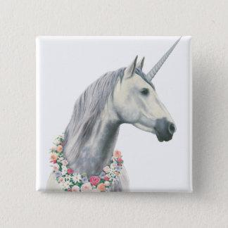 Licorne d'esprit avec des fleurs autour de cou badges