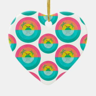 Licorne d'île d'été ornement cœur en céramique