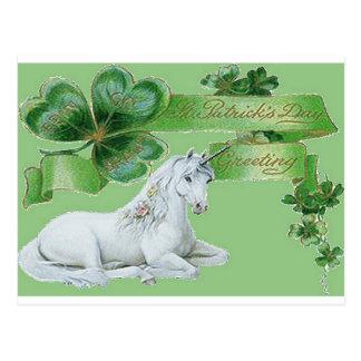Licorne du jour de St Patrick Carte Postale