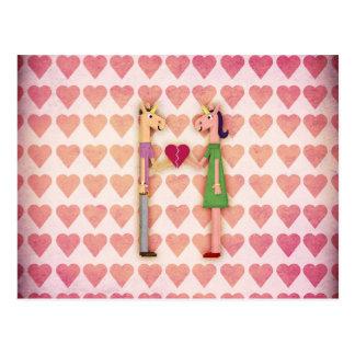 Licorne entière de coeur carte postale