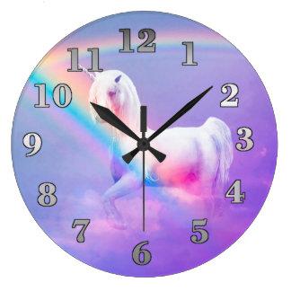 Licorne et arc-en-ciel grande horloge ronde