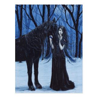Licorne et carte postale gothiques de fée