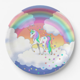 Licorne et étoiles colorées d'arc-en-ciel assiettes en papier