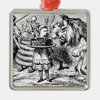 Licorne et lion ornement carré argenté