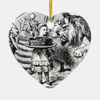 Licorne et lion ornement cœur en céramique