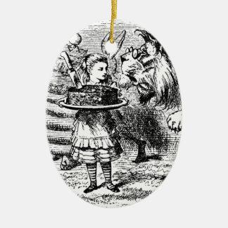 Licorne et lion ornement ovale en céramique