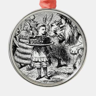 Licorne et lion ornement rond argenté