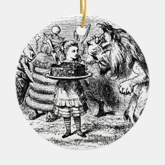 Licorne et lion ornement rond en céramique