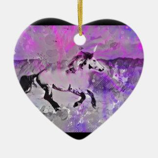Licorne galactique ornement cœur en céramique