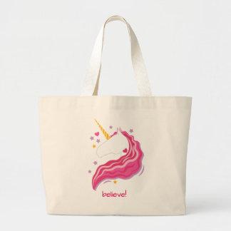 Licorne magique rose personnalisée grand sac