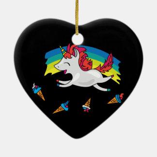 Licorne mignonne avec l'illustration de cool ornement cœur en céramique