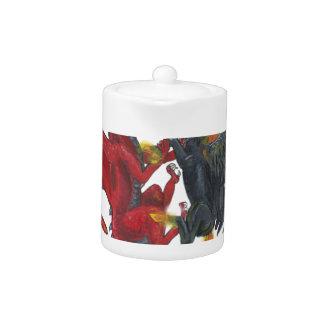 Licorne noire du feu et dragon rouge