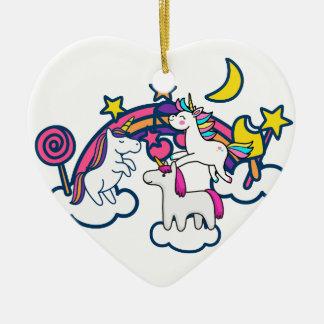 Licorne Ornement Cœur En Céramique
