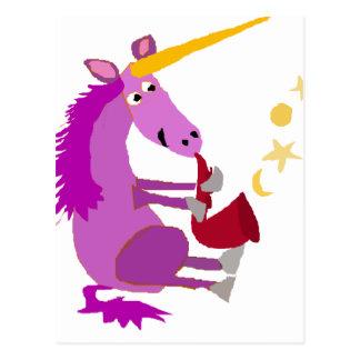 Licorne pourpre drôle jouant le saxophone cartes postales