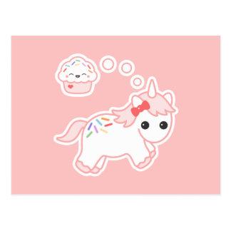 Licorne rêveuse de petit gâteau carte postale