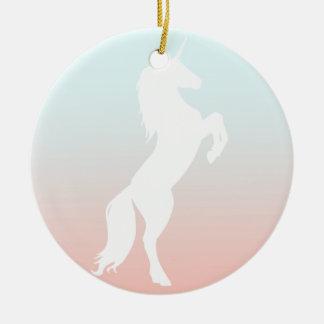Licorne sur le pastel ornement rond en céramique