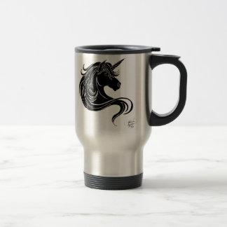 licorne tribale noire mug de voyage