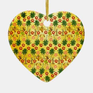 Licorne tropicale d'île ornement cœur en céramique