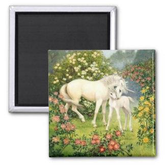 Licorne vintage et poulain magnet carré