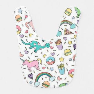 Licornes, amour, nourriture et arcs-en-ciel bavoir pour bébé